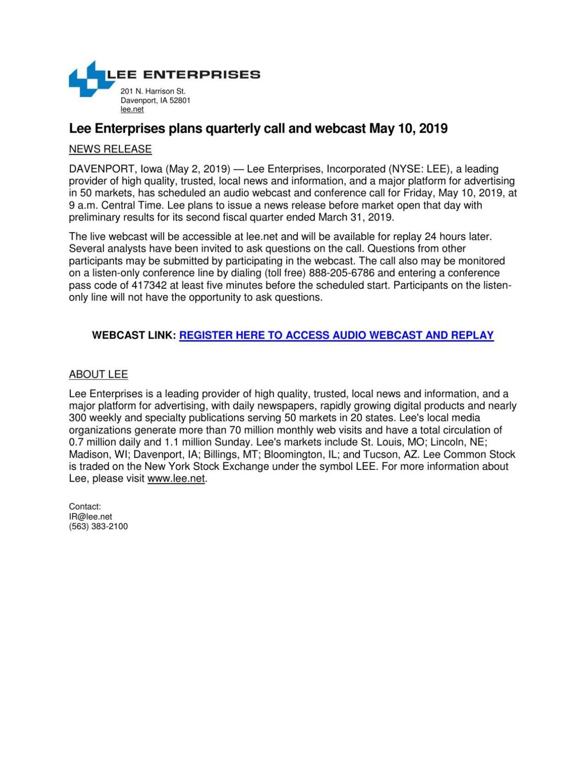 Lee Enterprises plans quarterly call and webcast May 10, 2019