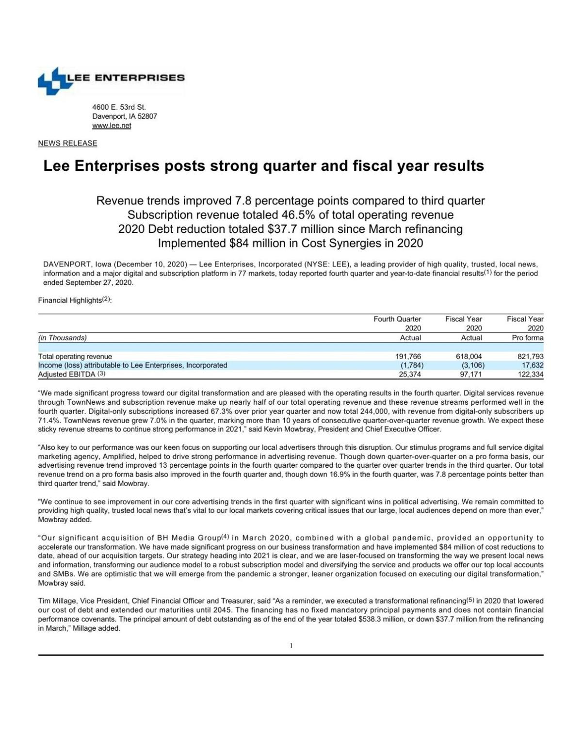 Lee Enterprises reports fourth quarter and year end results