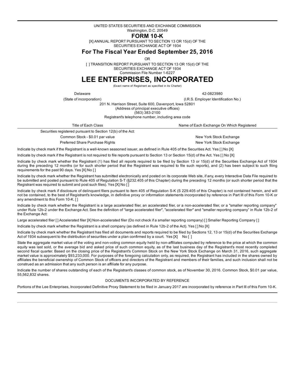Lee Enterprises, Inc. 10-K 2016