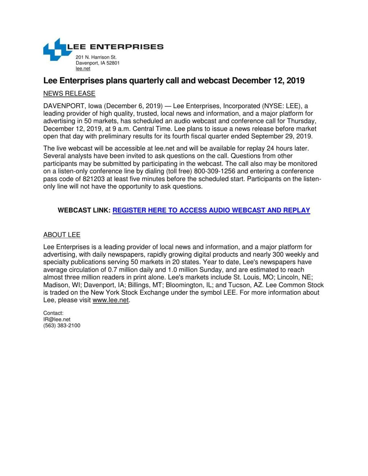 Lee Enterprises plans quarterly call and webcast December 12, 2019