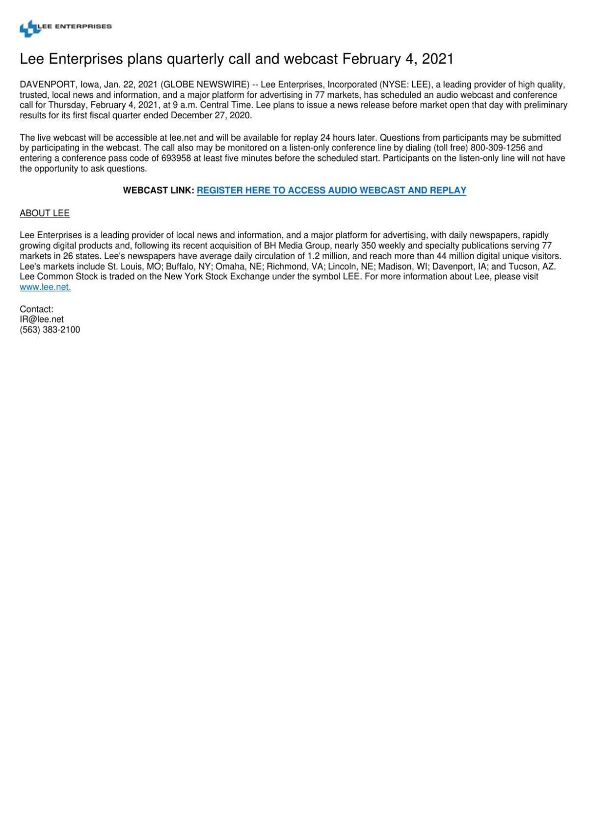 Lee Enterprises plans quarterly call and webcast February 4, 2021