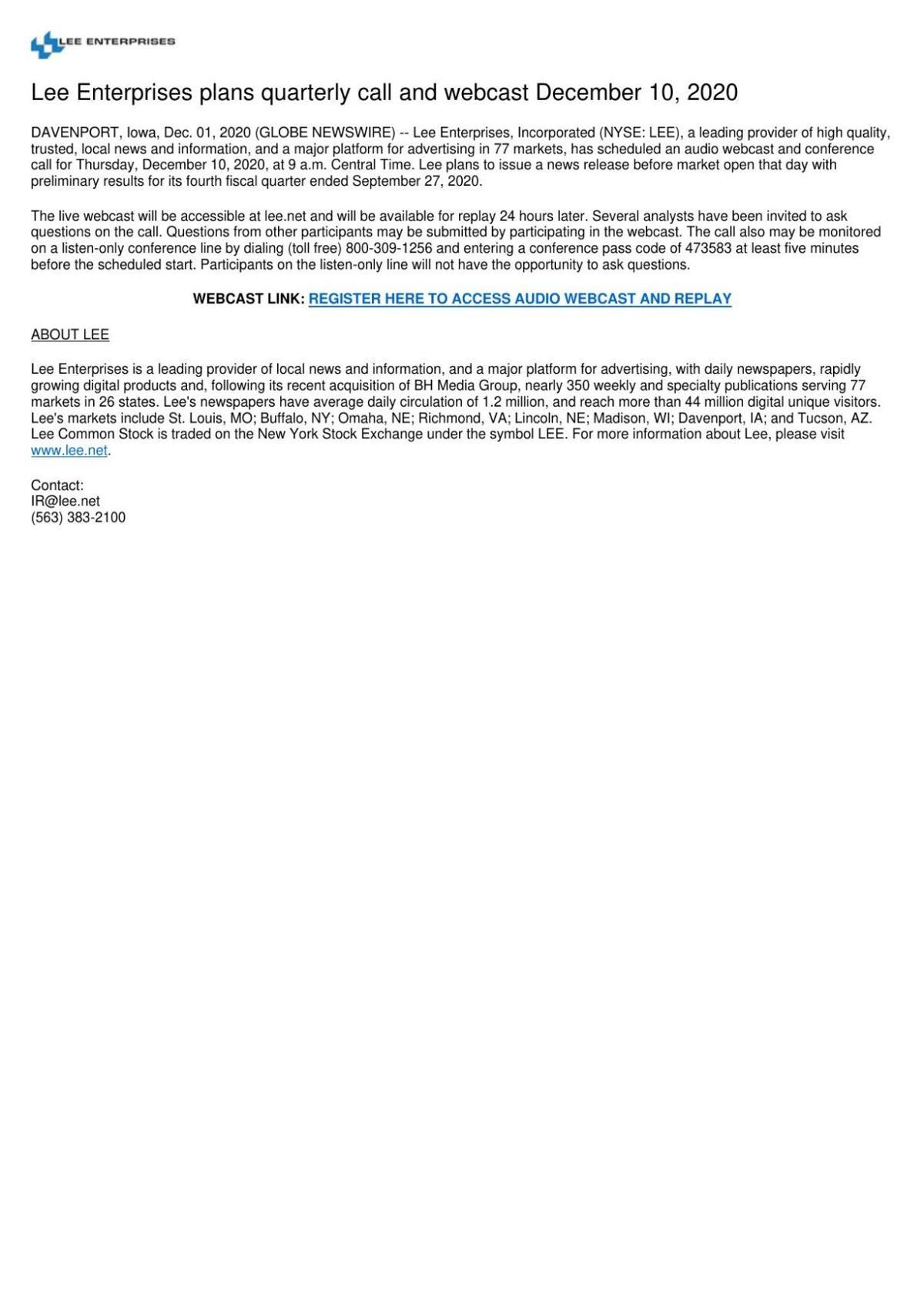 Lee Enterprises plans quarterly call and webcast December 10, 2020