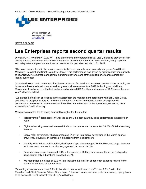 Lee Enterprises reports second quarter results