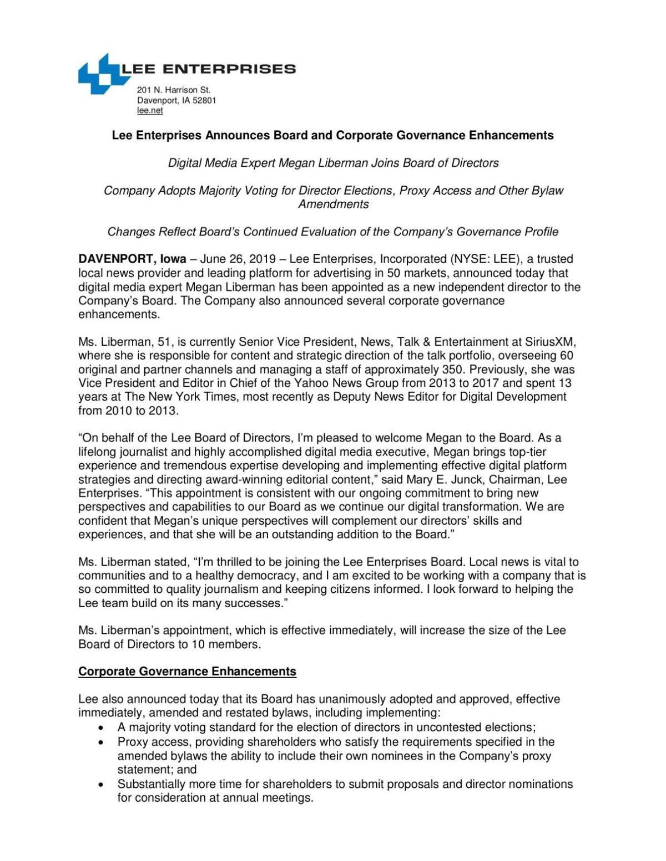 Lee Enterprises Announces Board and Corporate Governance Enhancements