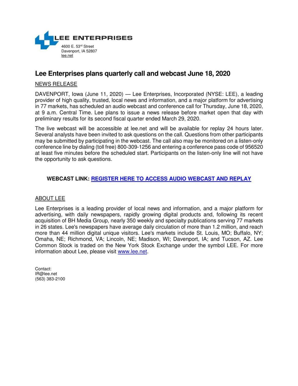 Lee Enterprises plans quarterly call and webcast June 18, 2020