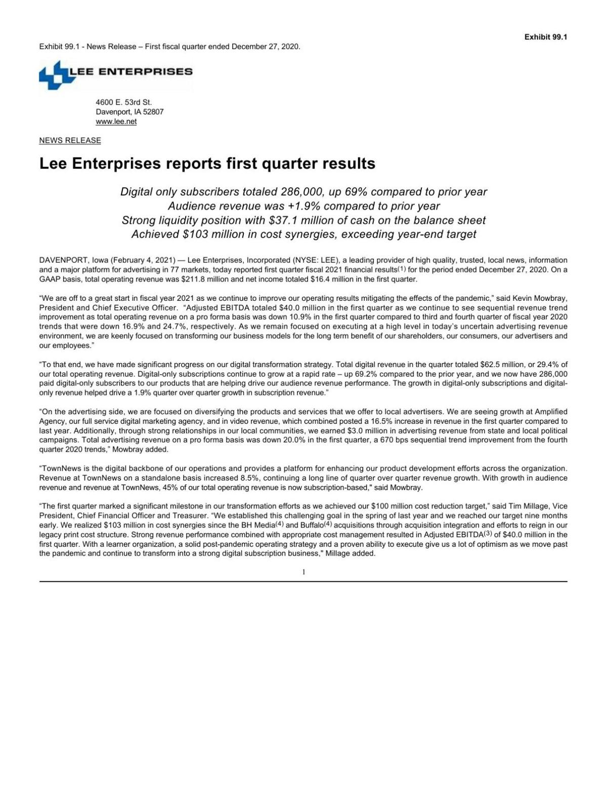 Lee Enterprises reports first quarter results