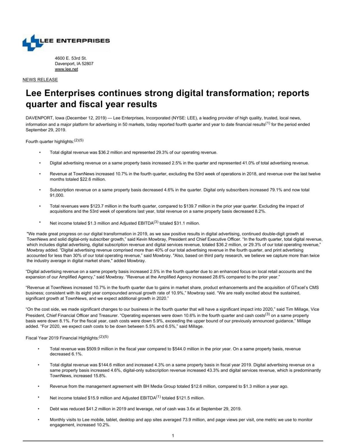 Lee Enterprises continues strong digital transformation; reports quarter and fiscal year results