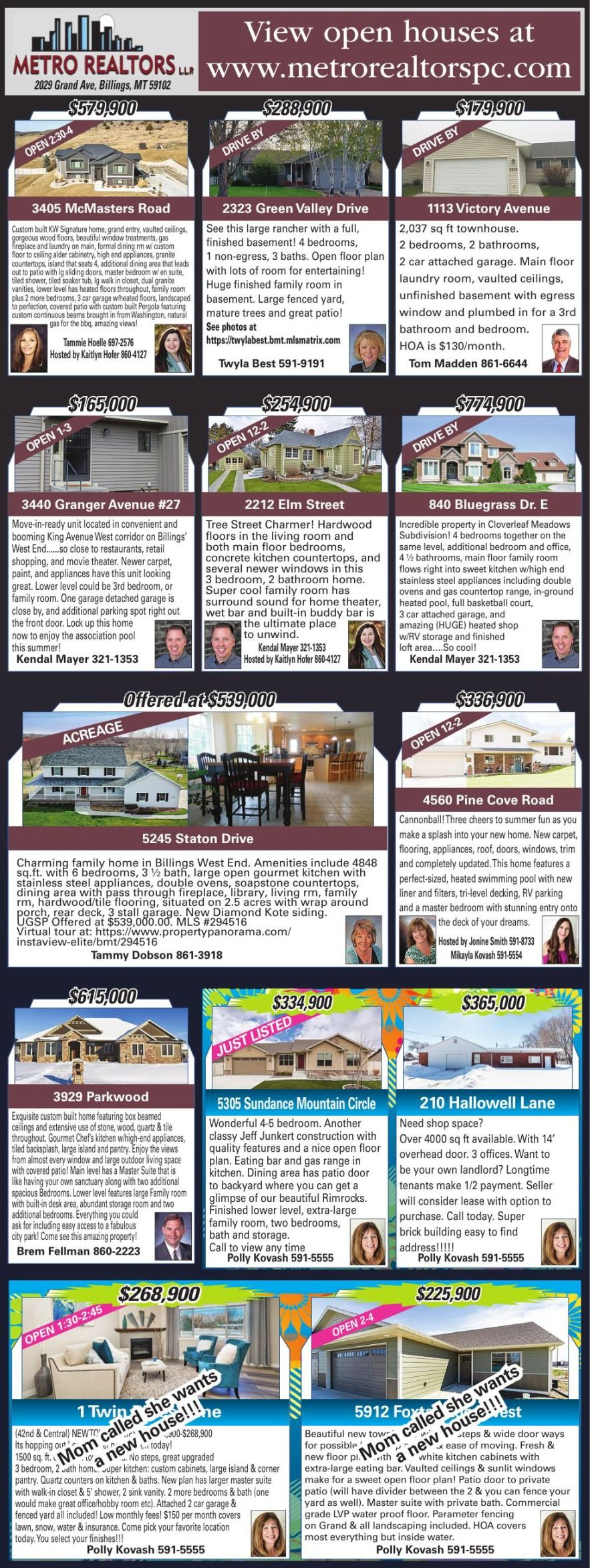 Featured Listings Presented by Metro Rea