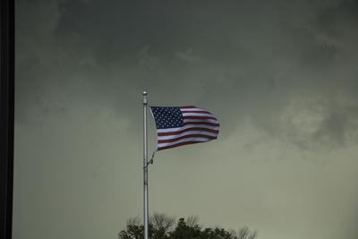 Flag in storm