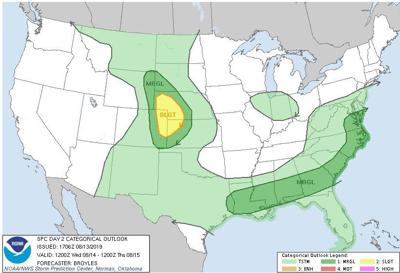 Day 2 Outlook SPC for Aug 14