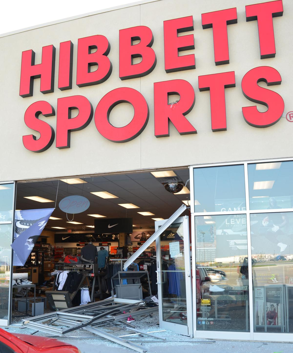 0dc096f63b67 Kearney man arrested for smashing car through Lex business. The front  entryway of Hibbett Sports ...