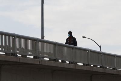 Man walking in mask
