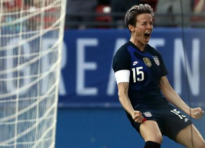 FRISCO, TEXAS- MARCH 11: Megan Rapinoe #15 of the United States celebrates her goal against Japan during the first half of the 2020 SheBelieves Cup at Toyota Stadium on March 11, 2020 in Frisco, Texas.
