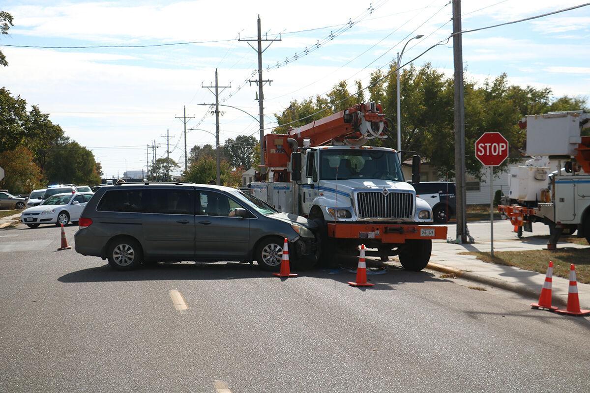 Van strikes NPPD truck