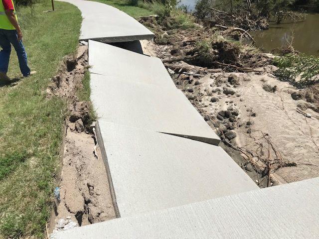 Hike-bike trail damaged
