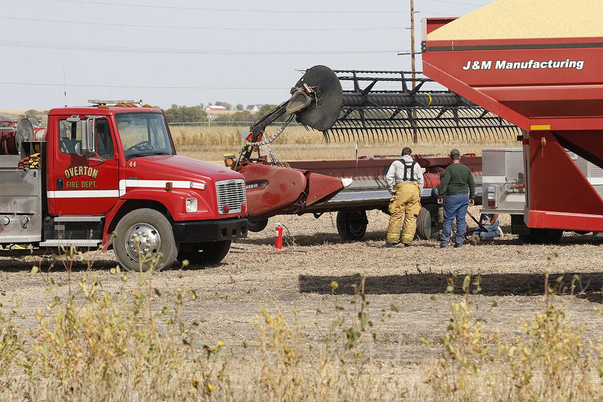 Fire in a combine draper head summons Overton firefighters on Friday