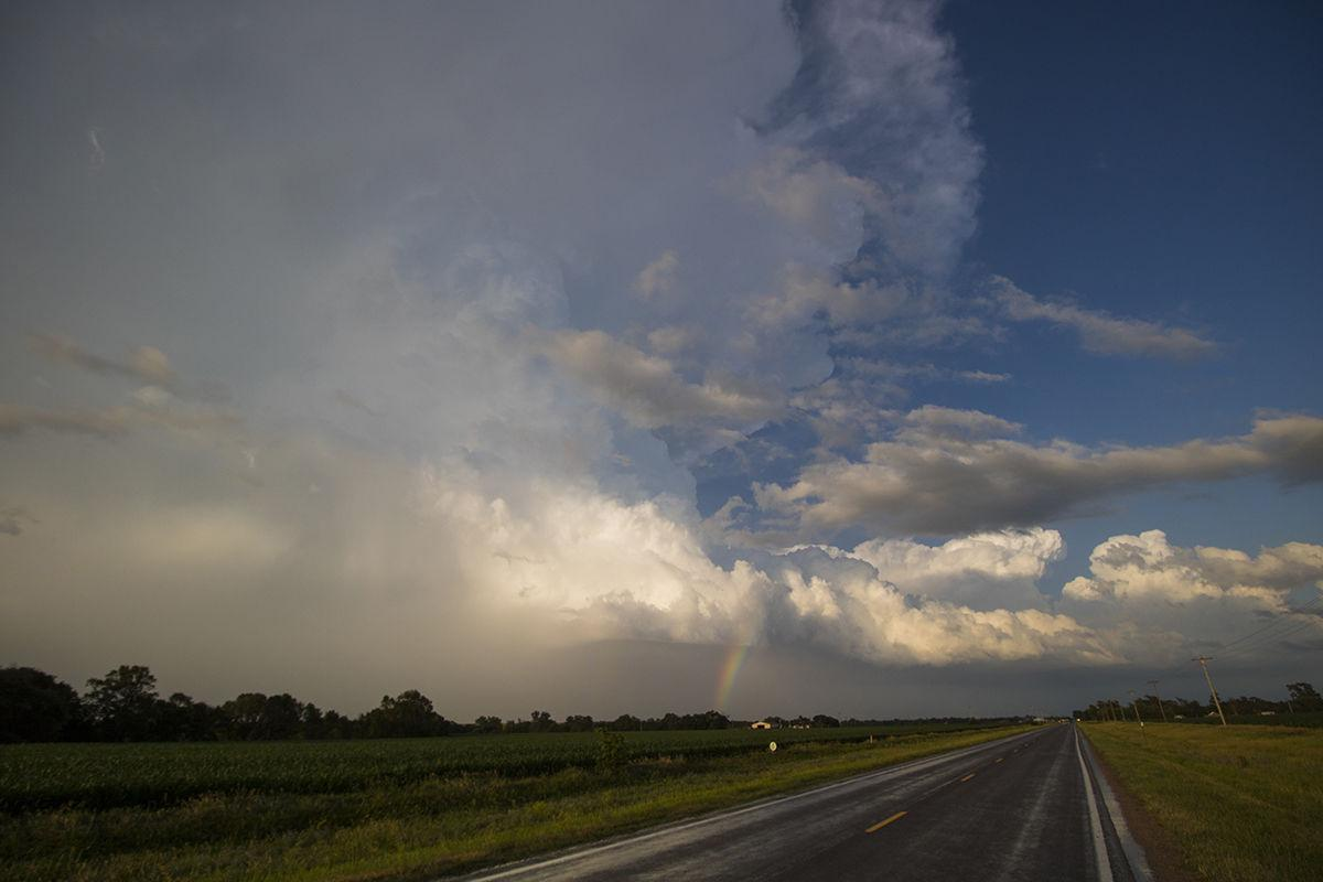 Severe Warned Storm and Rainbow