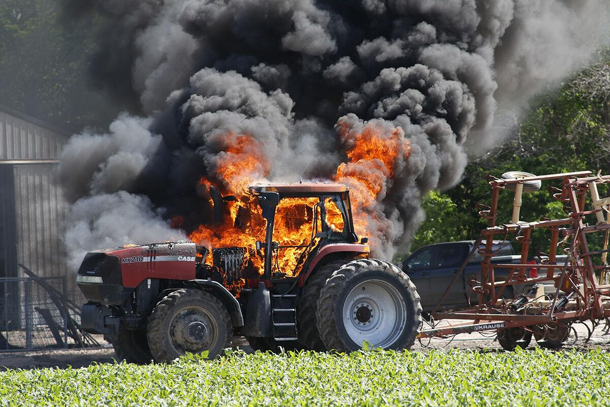 Case tractor on fire