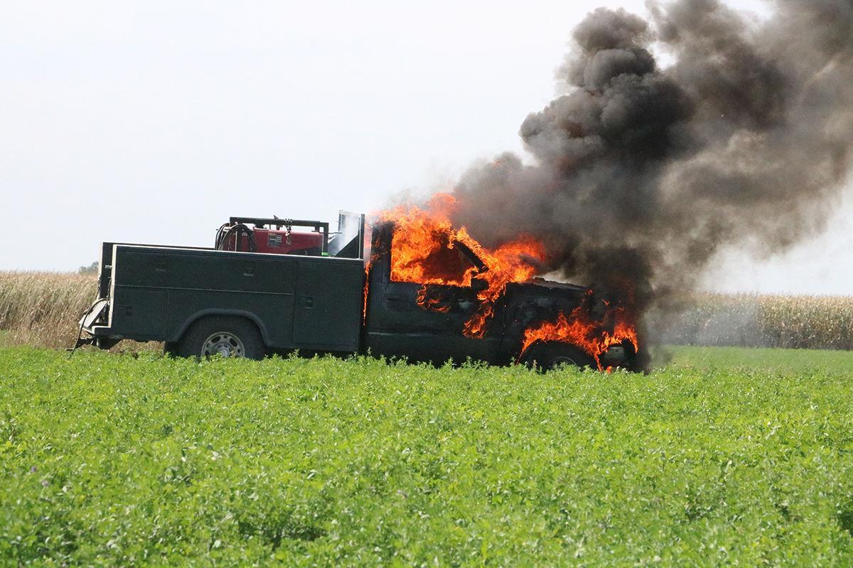 Pickup on fire