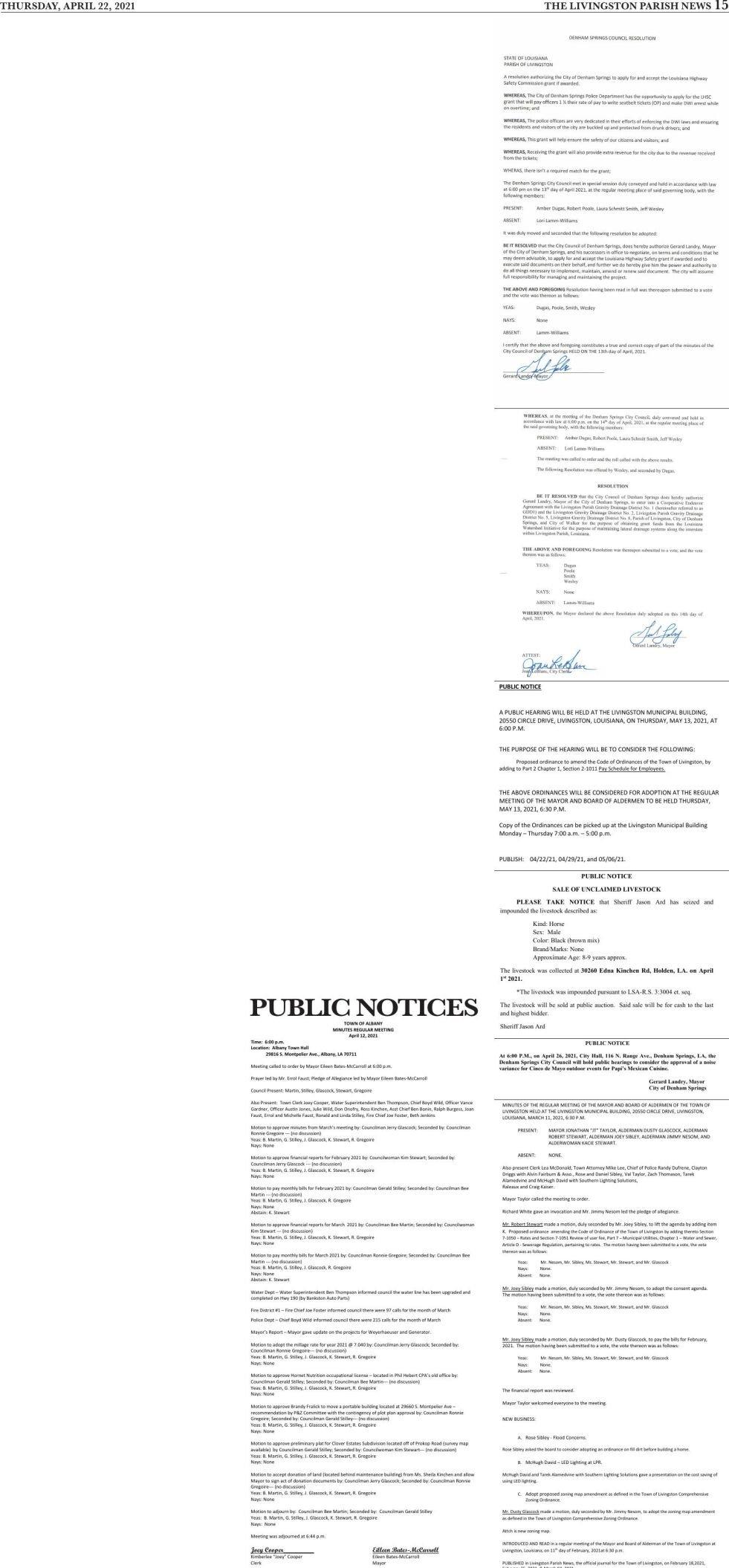 Public Notices published April 22, 2021
