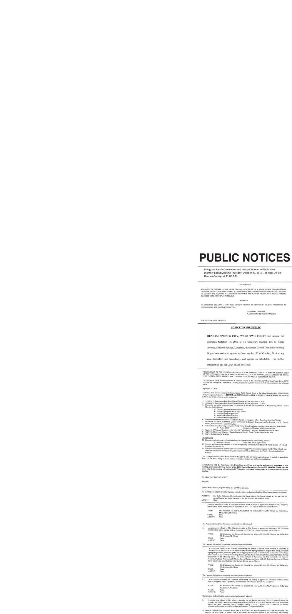 Public Notices published October 13, 2016