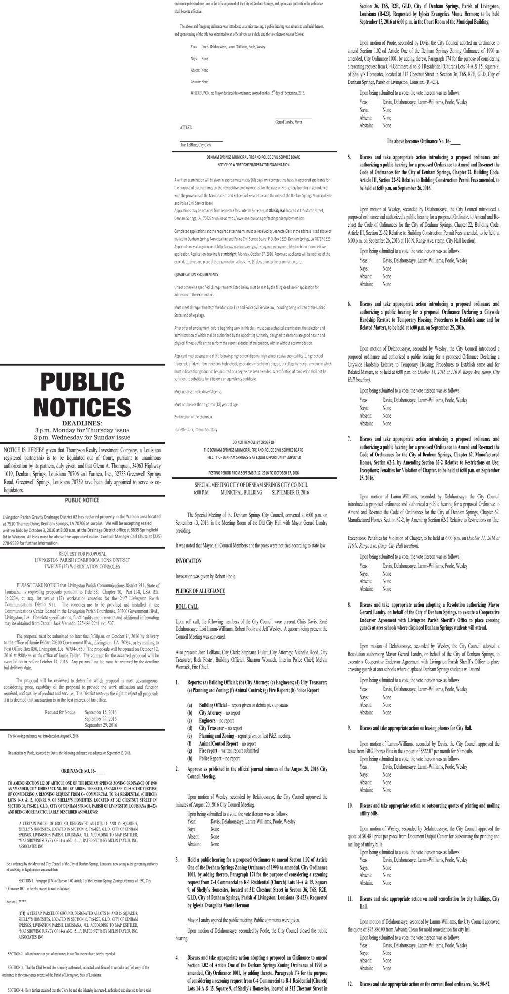 Public Notices published September 22, 2016