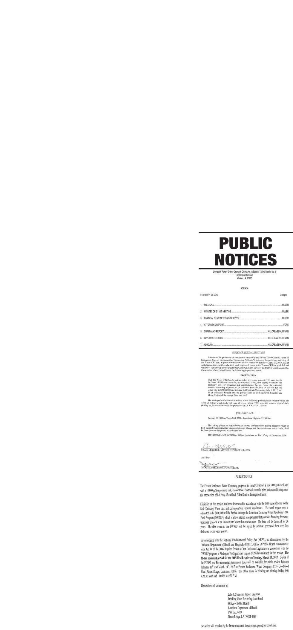 Public Notices published February 23, 2017
