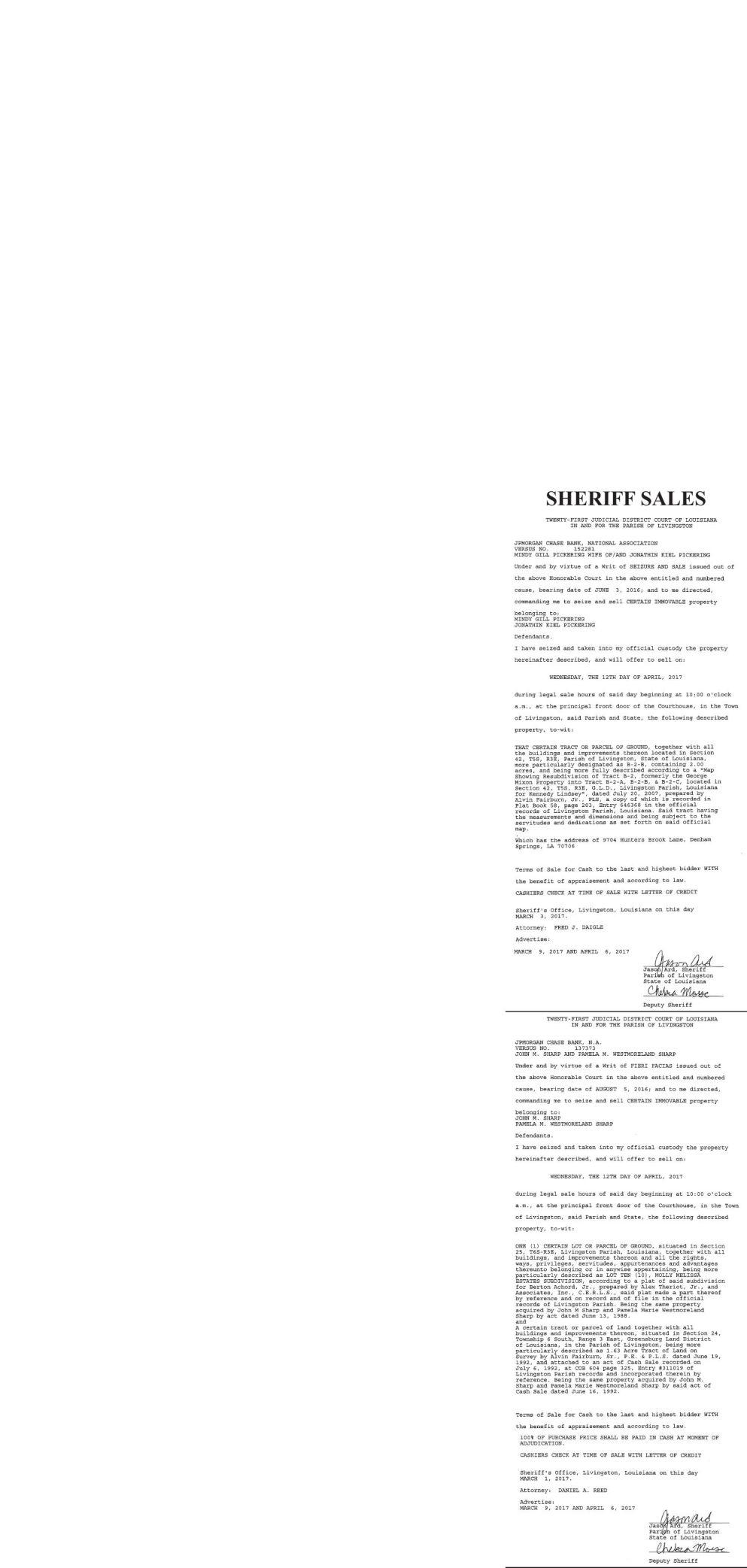 Public Notices published April 6, 2017