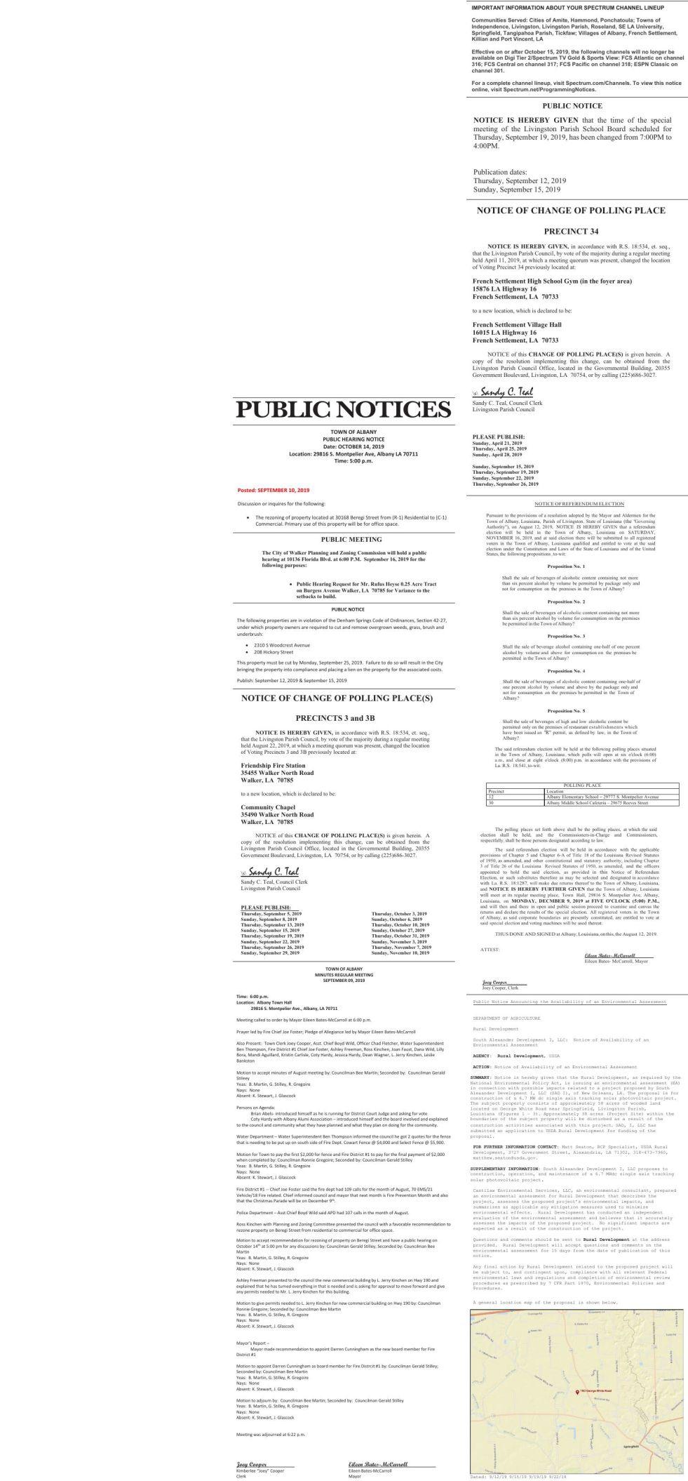 Public Notices published September 15, 2019