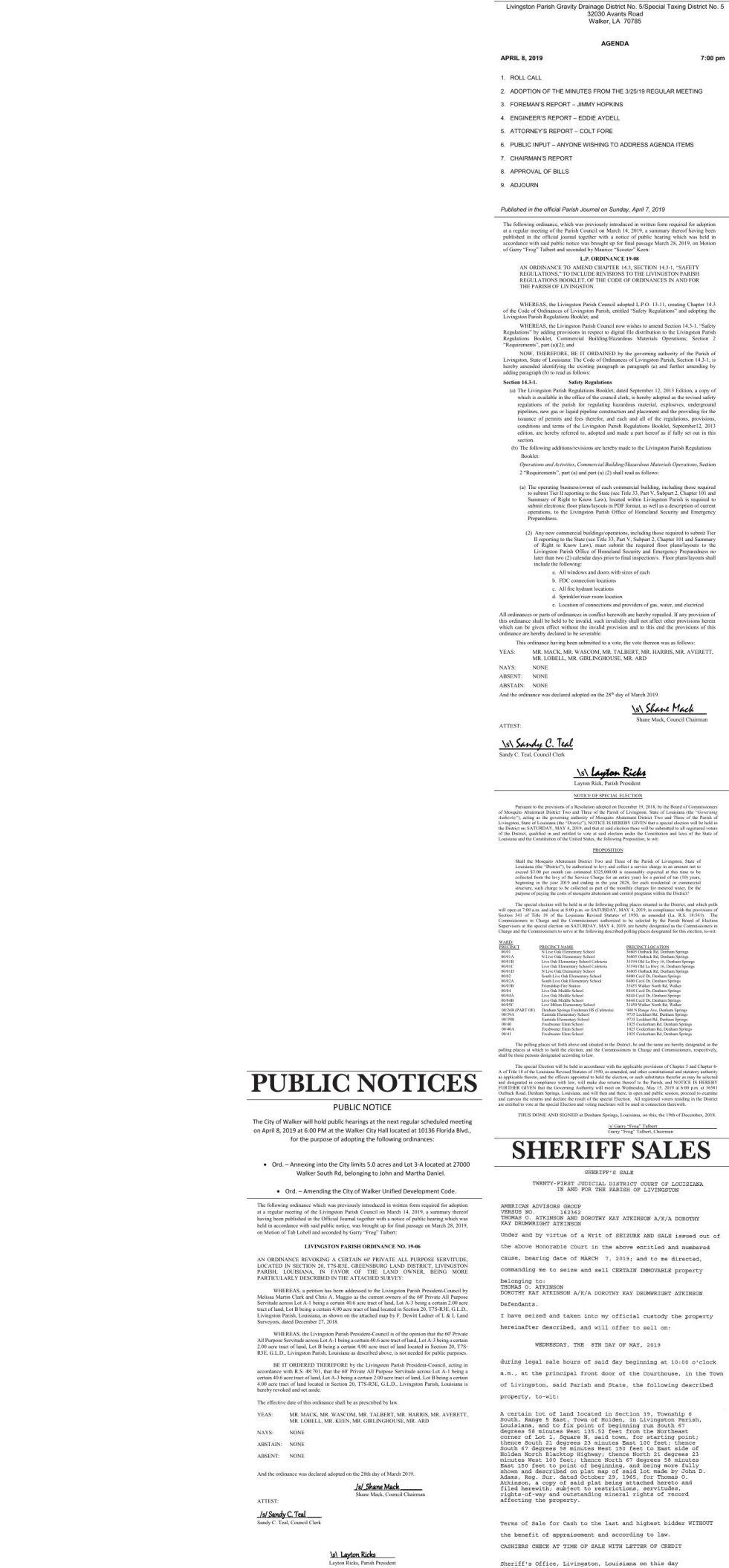 Public Notices published April 7, 2019