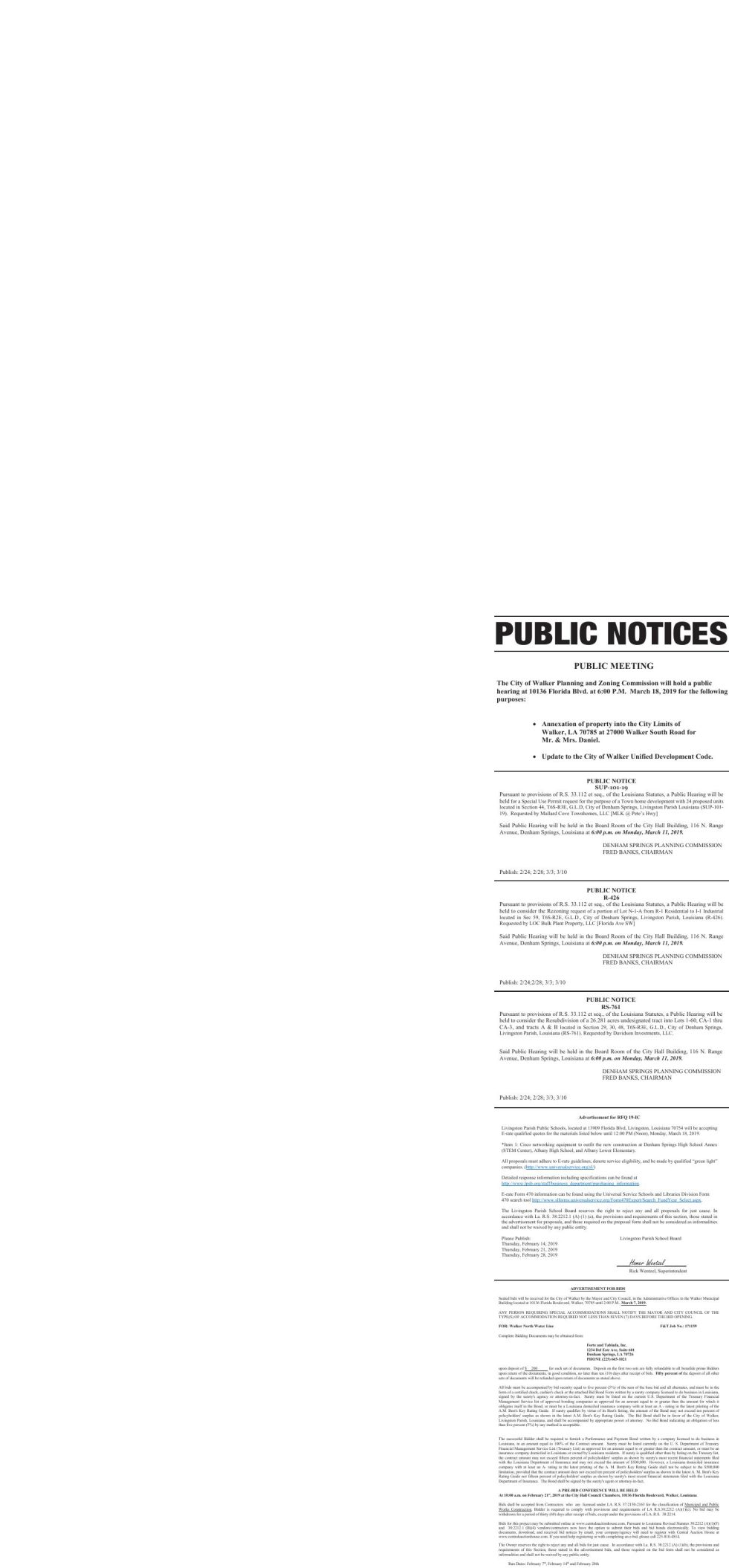 Public Notices published February 28, 2019