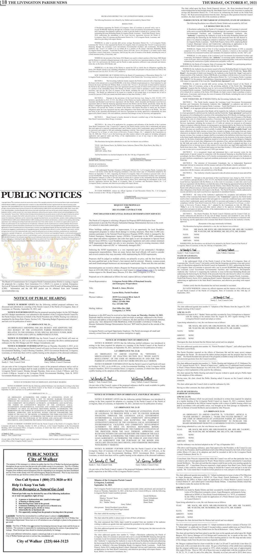 Public Notices published October 07, 2021