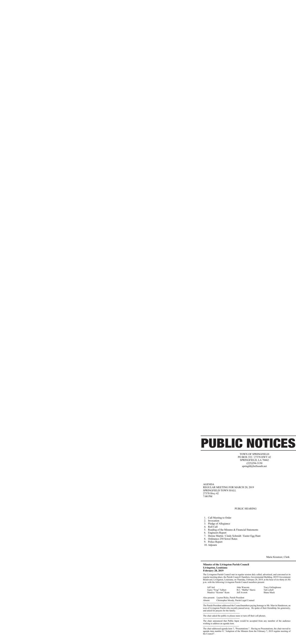 Public Notices published March 21, 2019