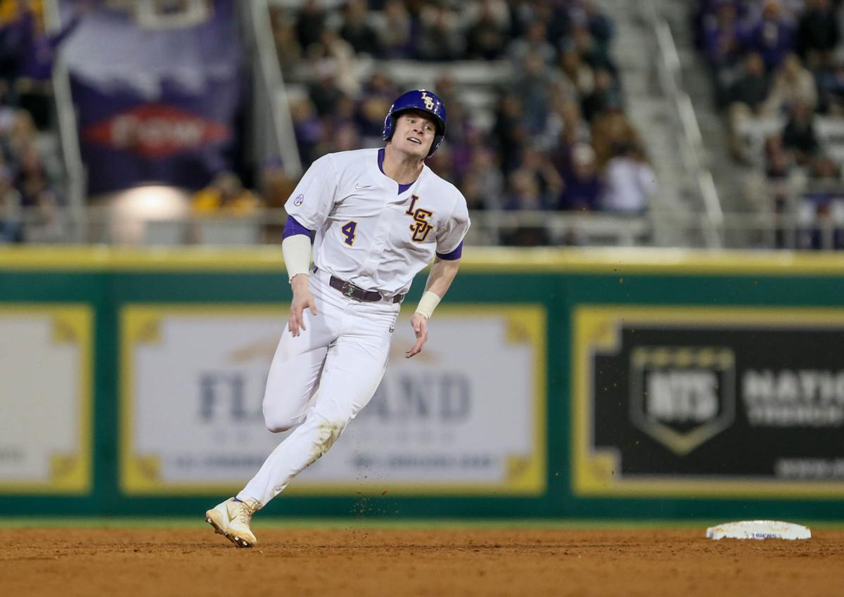 LSU freshman second baseman Cade Doughty (4) rounds second base after hitting his career home run in his first at bat..jpg