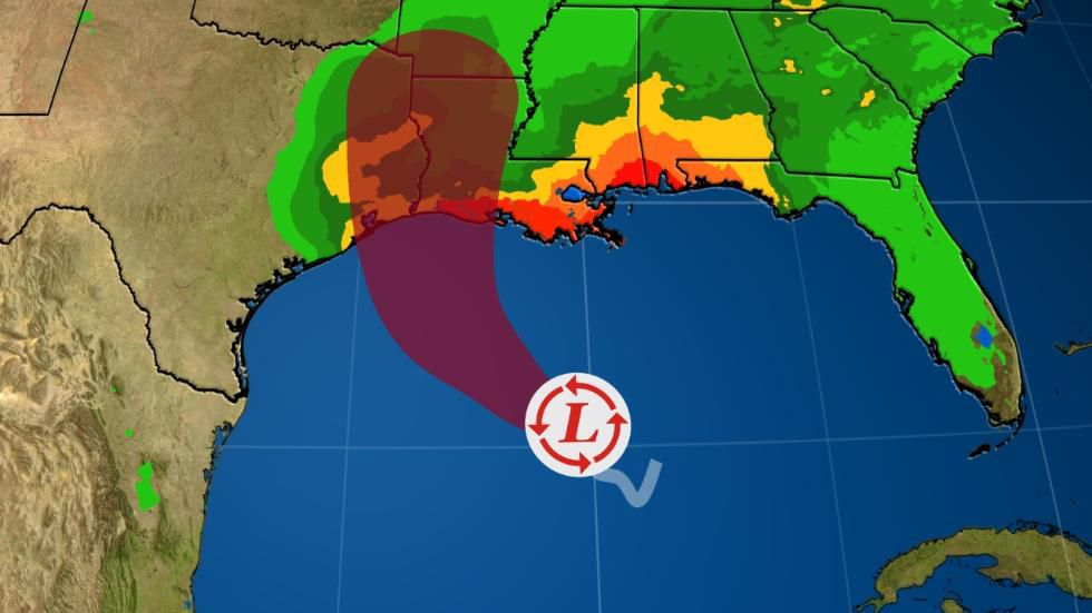 Projected landfall, 7 a.m