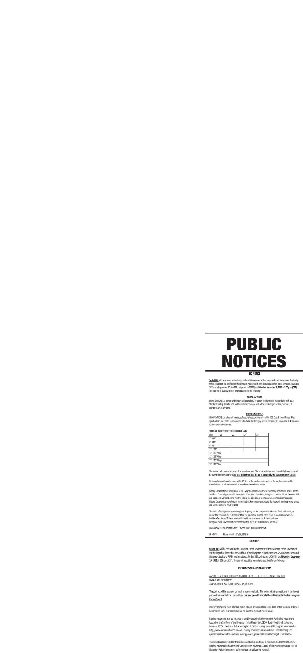 Public Notices published December 1, 2016