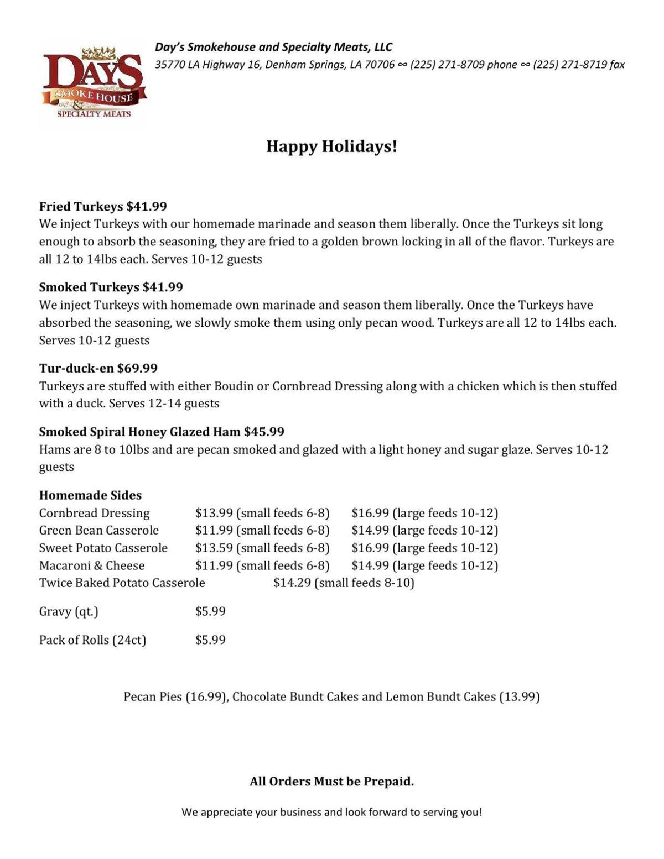 Days holiday menu pdf | | livingstonparishnews com