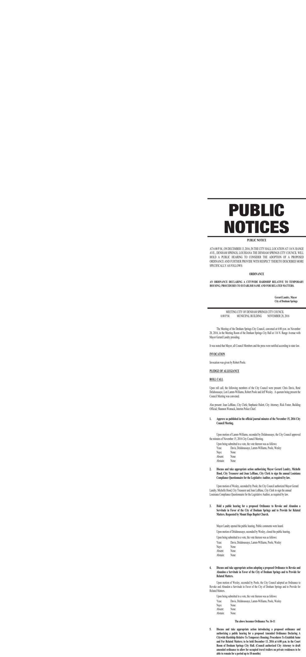 Public Notices published December 8, 2016