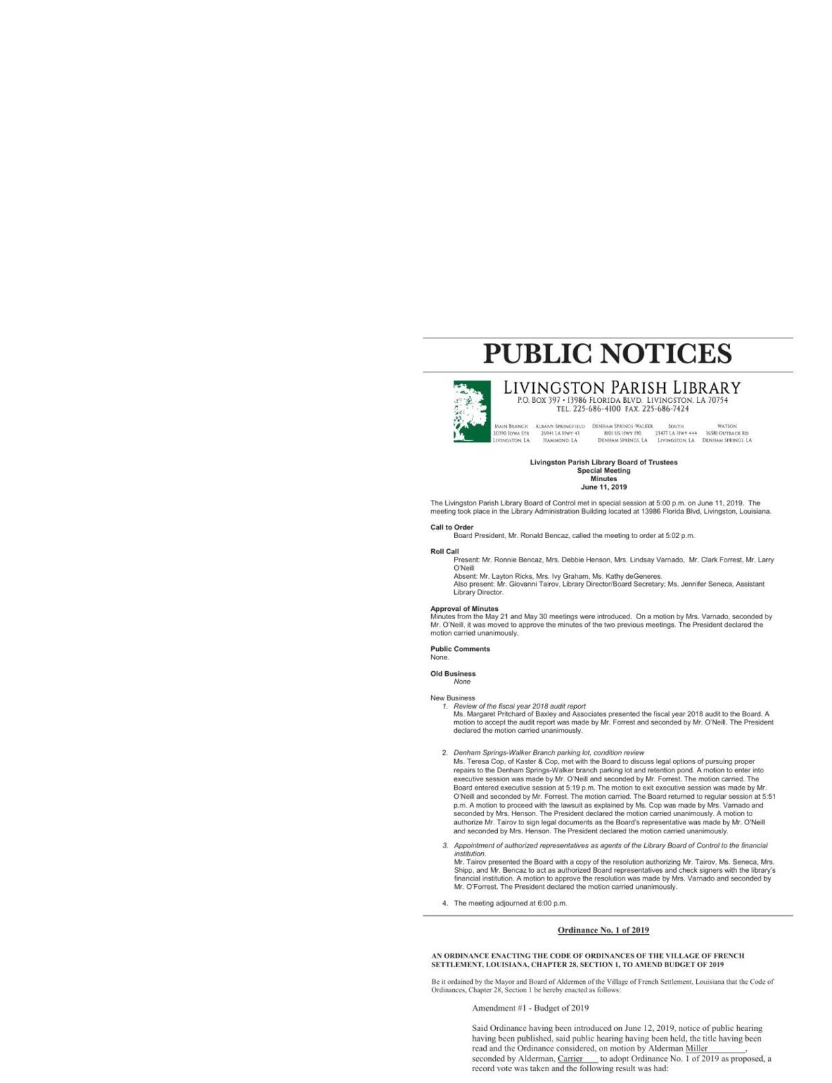 Public Notices published July 18, 2019