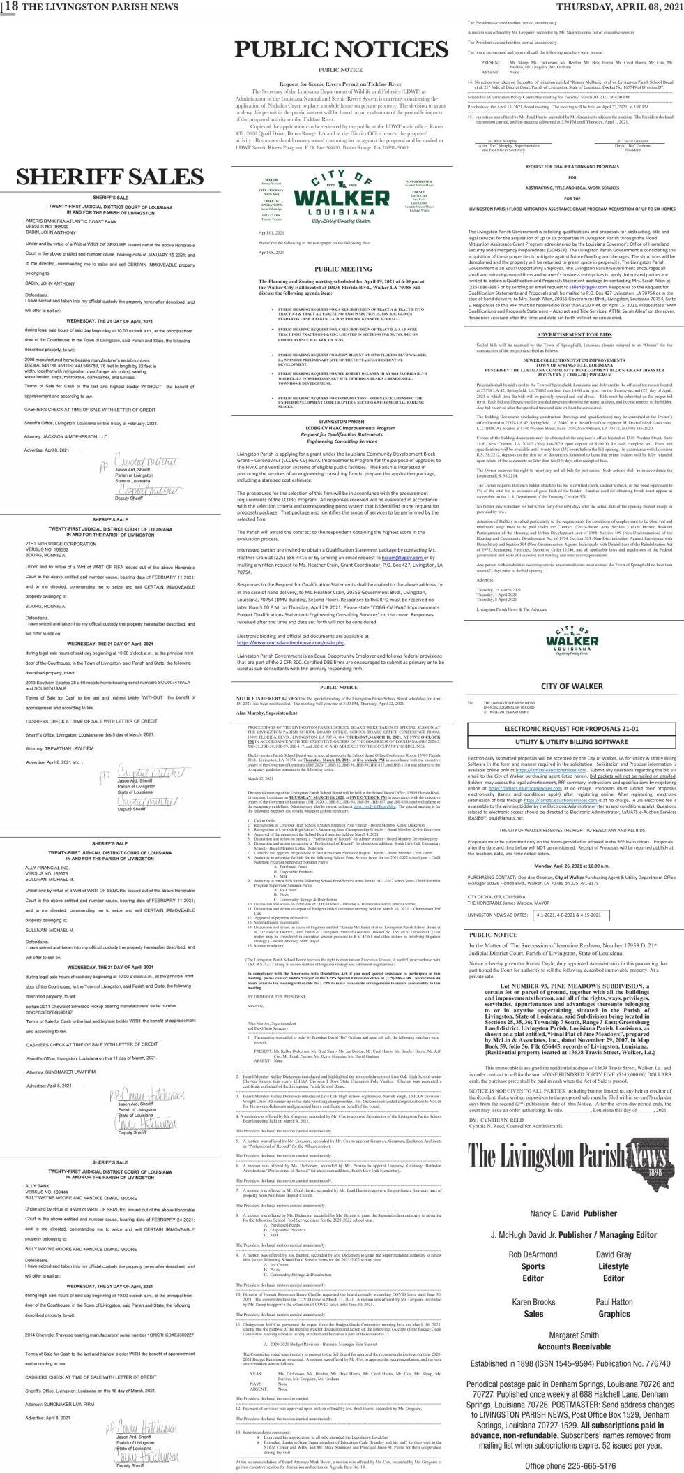 Public Notices published Thursday, April 08, 2021