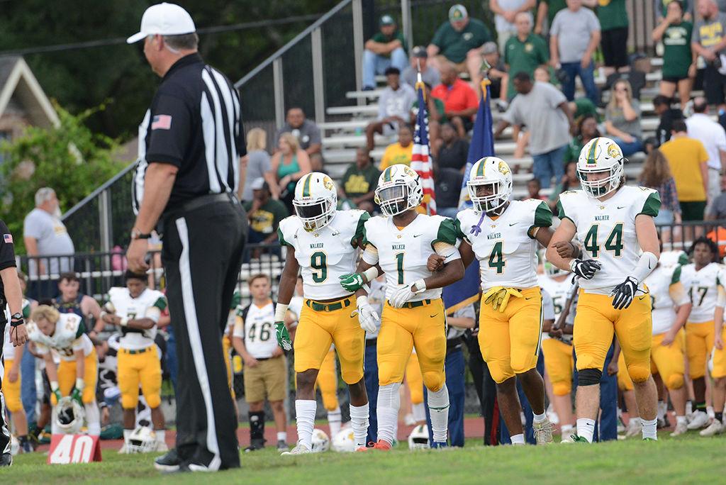 Walker vs Broadmoor Football , Calvin Watson (9), Byron Lockhart Jr. (1), Ke'andre Ventress (4), Cade Seymour (44)