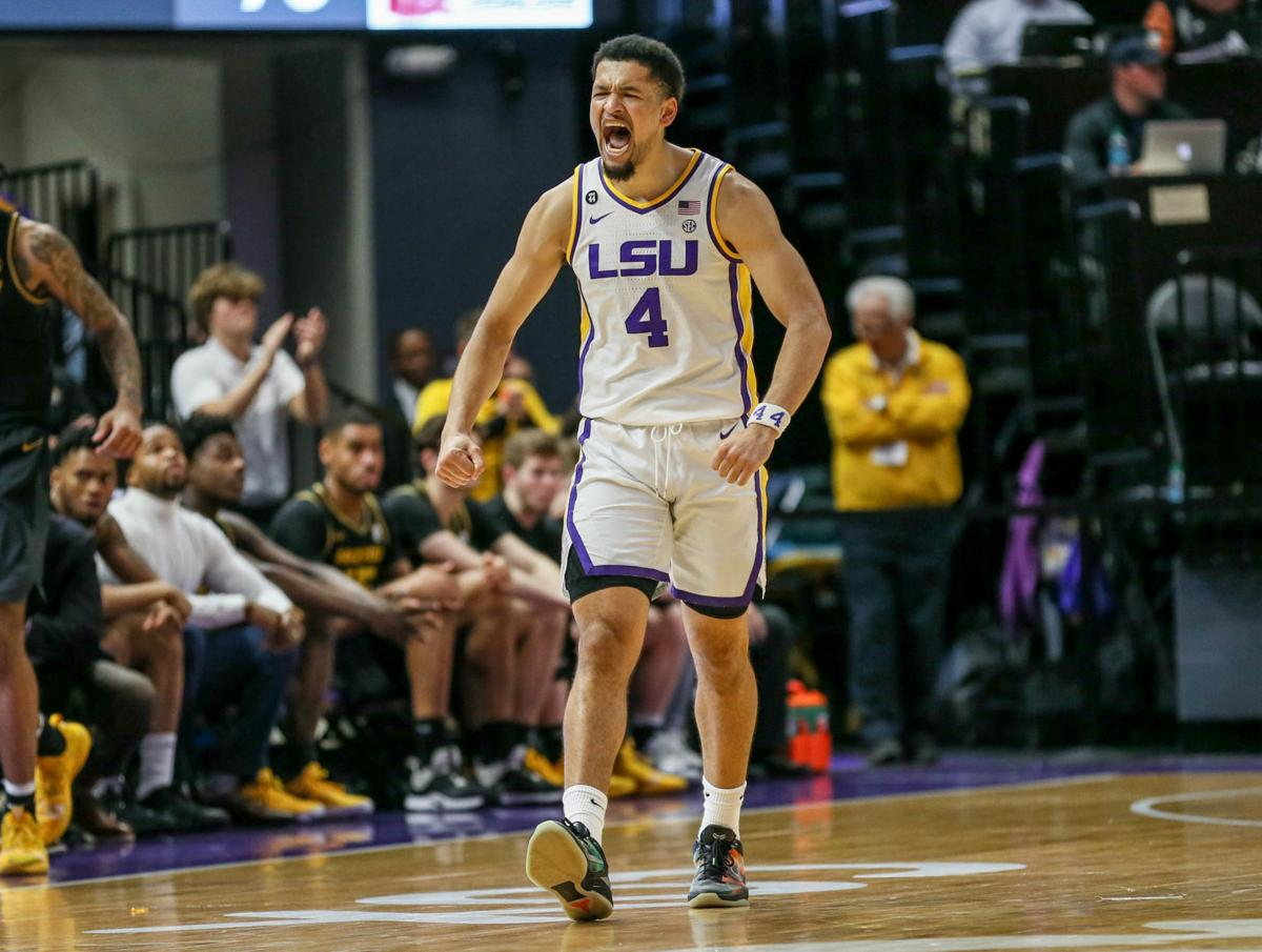 LSU point guard Skylar Mays (4) lets out a rare show of emotion on the court..jpg