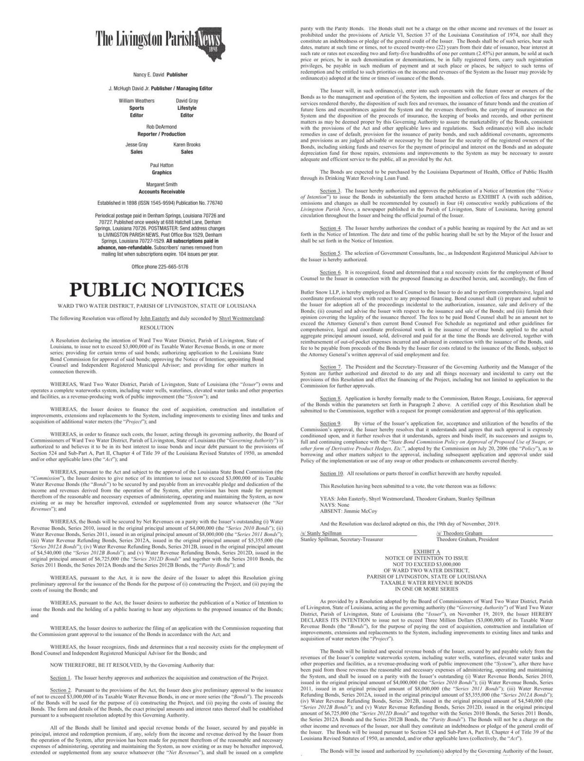 Public Notices published November 28, 2019