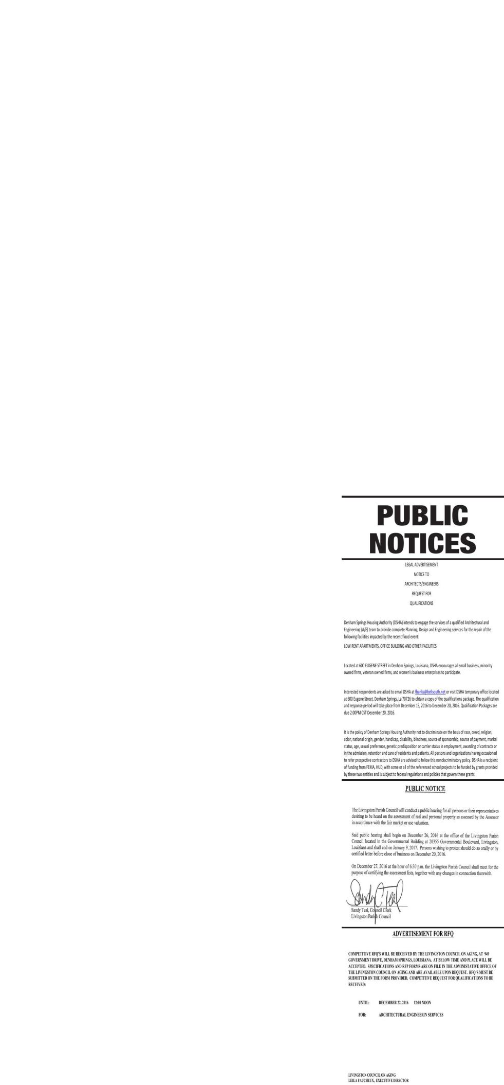 Public Notices published December 15, 2016