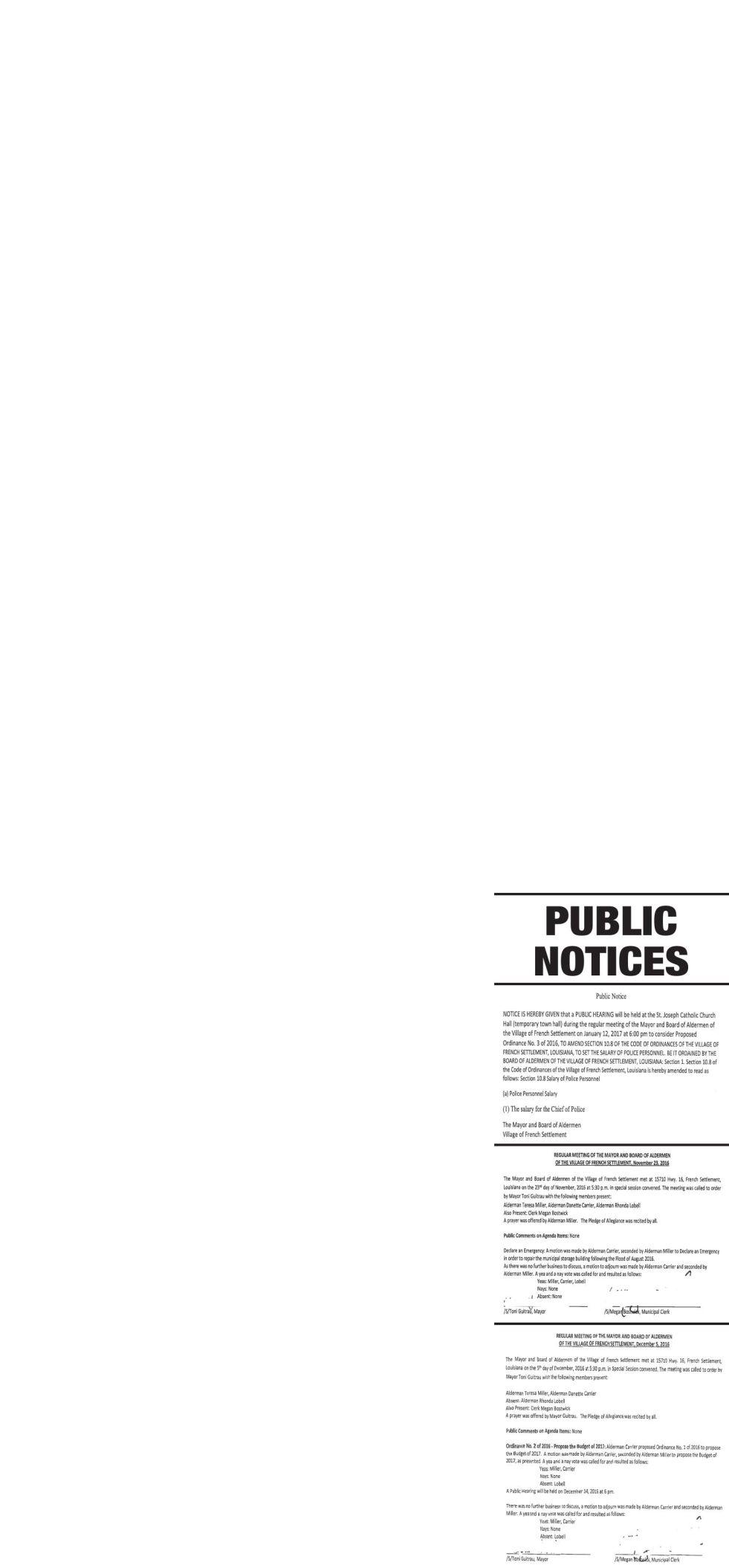 Public Notices published December 29, 2016