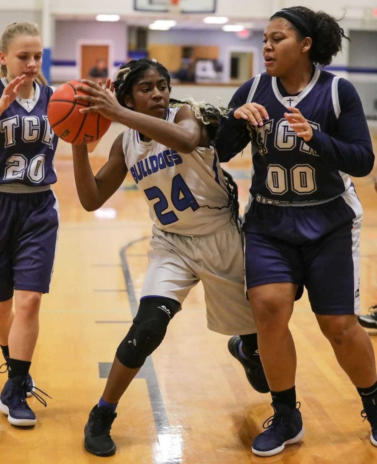 Church Academy at Springfield girls basketball Johneisha Joseph Katelyn Robertson