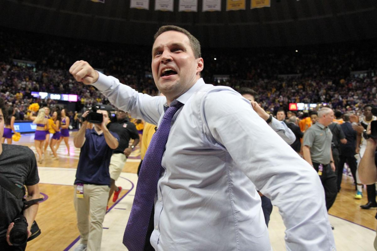 LSU coach Will Wade is all smiles after his team's overtime win over Tennessee