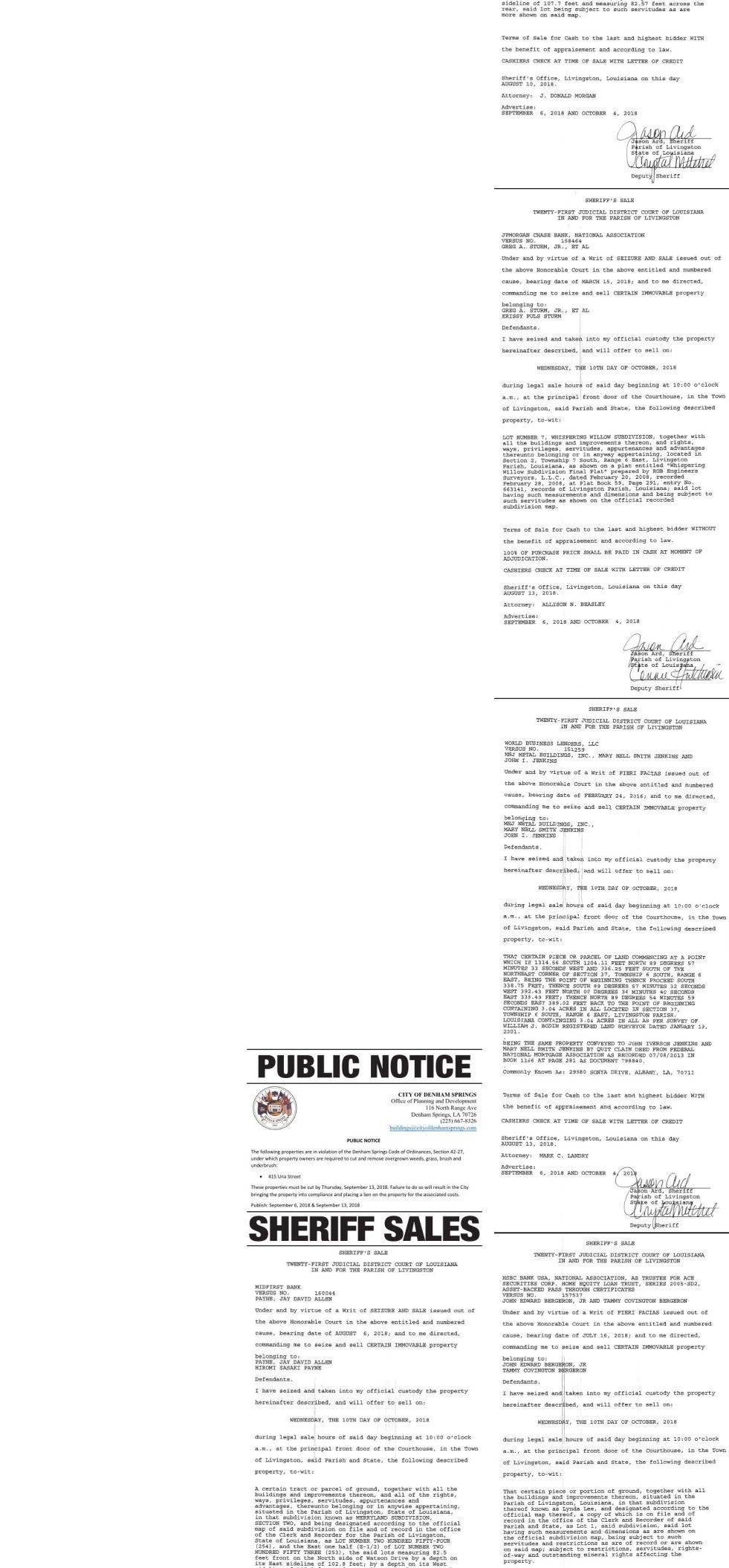 Public Notices published September 6, 2018