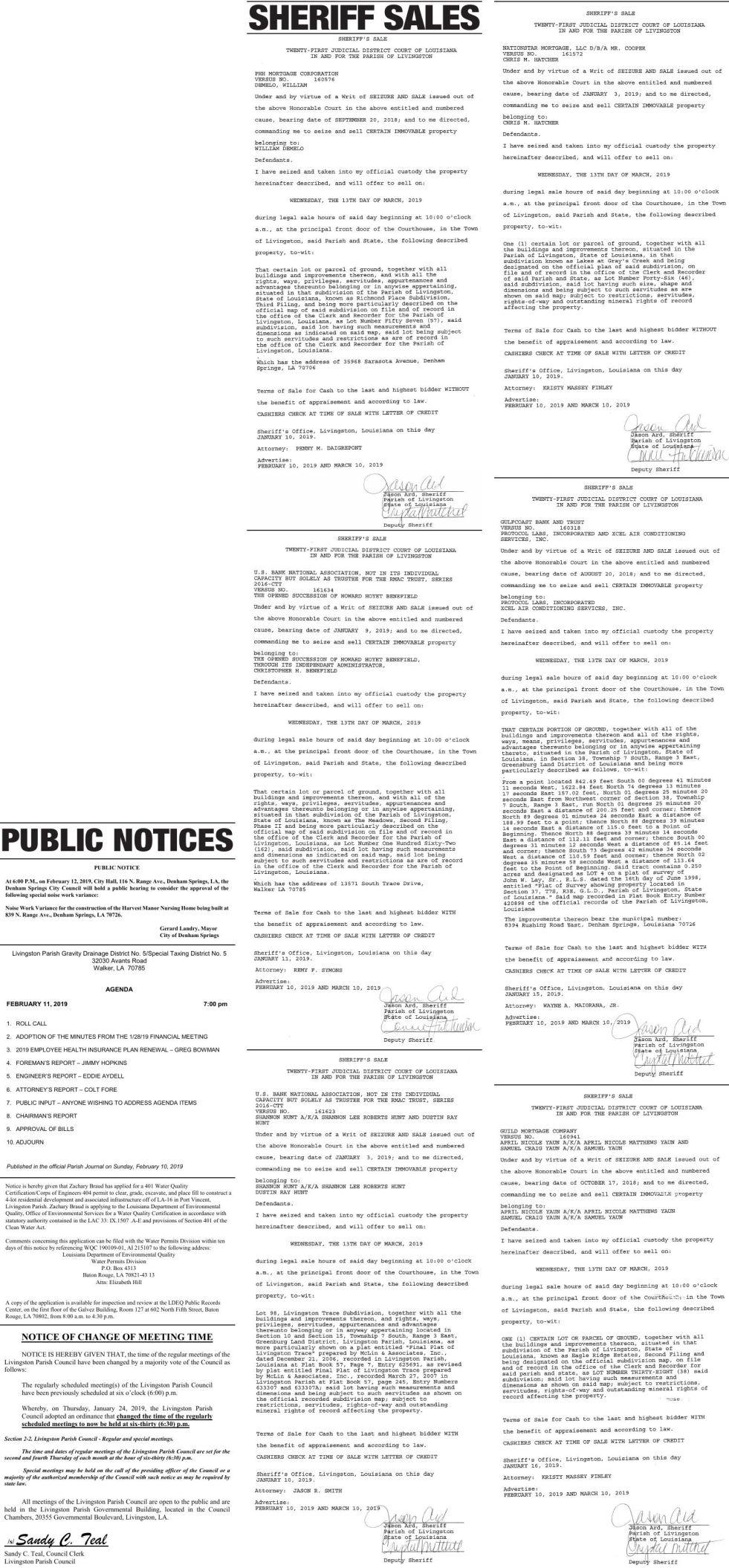 Public Notices published February 10, 2019