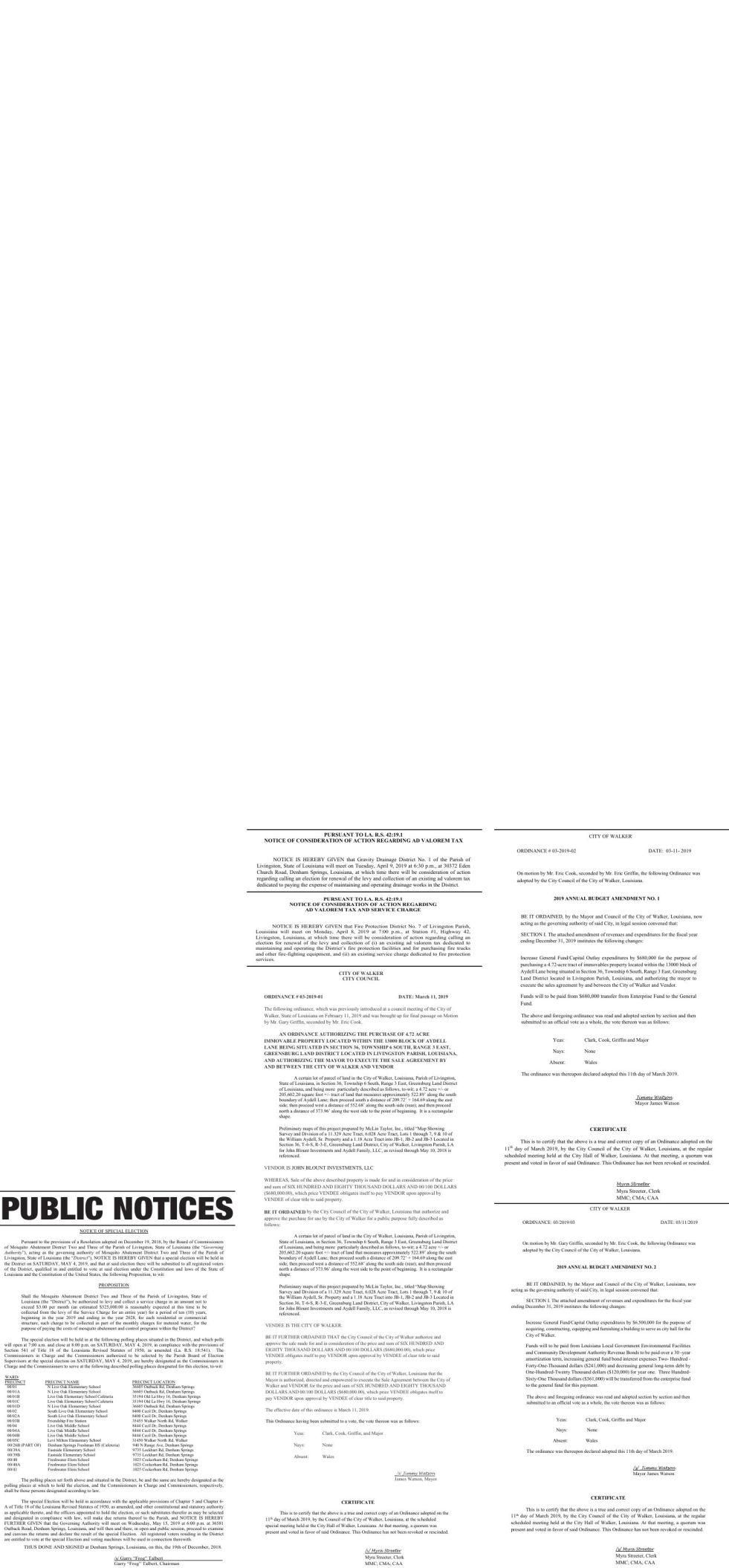 Public Notices published March 17, 2019